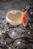 Alcoholic or non-alcoholic cocktail with lemon citrus and ginger with added liqueur, vodka, champagne or martini. Cool drink. Easy Bartenders Recipes and Ideas stock images
