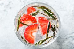 Strawberry and rosemary drink stock photos