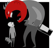 Alcoholic parent and a child. Abusive alcoholic monster father yells at his son, vector illustration stock illustration