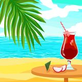 Alcoholic red cocktail juice - Shiny Advertising vector poster with ice and dragon fruit pitahaya. Palm beach in an exotic tropical sunny tourist country near Stock Photography