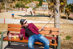 Alcoholic selfie Royalty Free Stock Images