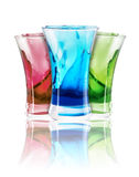 Alcoholic  shot cocktails stack with splash Royalty Free Stock Photos