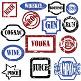 Alcoholic stamps. Isolated vector objects on white background Royalty Free Stock Photos