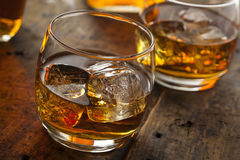 Alcoholic Whiskey Bourbon in a Glass with Ice Royalty Free Stock Photography