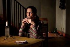 Alcoholic woman Stock Photo