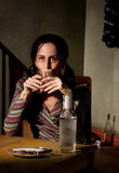 Alcoholic woman Stock Images