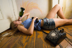 Alcoholic woman Royalty Free Stock Images