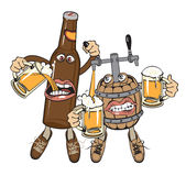 Alcoholics friends. Cask and bottle hugging and drinking beer Stock Images