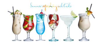Alcoholis summer cocktails. Collection of widely known refreshing summer alcoholic cocktails: pina colada,daiquiri,mojito and blue lagoon Stock Image