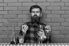 Alcoholisch drankenconcept De barman met lange baard en snor en het modieuze haar op de strikte schudbeker van de gezichtsholding stock foto