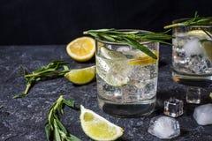 Alcoholisch drink jenever tonische cocktail met citroen, rozemarijn en ijs op steenlijst royalty-vrije stock foto