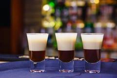 Alcoholisch schot van de drie cocktails Royalty-vrije Stock Foto's