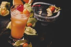 Alcoholische cocktail met wodka, bittere likeur, citroensap, deco royalty-vrije stock fotografie