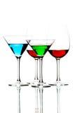 Alcoholische die cocktails op wit worden geïsoleerd Stock Afbeelding