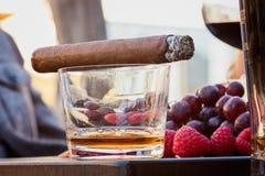 Alcoholische drank en Sigaar Royalty-vrije Stock Fotografie