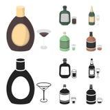 Alcoholische drankchocolade, champagne, alsem, kruidenlikeur Pictogrammen van de alcohol de vastgestelde inzameling in beeldverha vector illustratie