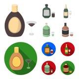 Alcoholische drankchocolade, champagne, alsem, kruidenlikeur Pictogrammen van de alcohol de vastgestelde inzameling in beeldverha stock illustratie