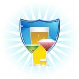 Alcoholische dranken: Blauw Schild dat met Ster wordt geplaatst Royalty-vrije Stock Foto's