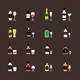 Alcoholische dranken, flessen en geadviseerde glazen Vlakke geplaatste pictogrammen Royalty-vrije Stock Foto's