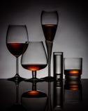 Alcoholische dranken in glazen royalty-vrije stock foto's
