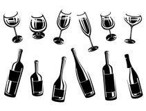Alcoholische glasinzameling Stock Afbeeldingen