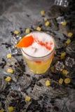 Alcoholische of niet-alkoholische cocktail met citroencitrusvrucht en gember met toegevoegde likeur, wodka, champagne of martini stock afbeelding