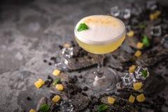 Alcoholische of niet-alkoholische cocktail met citroencitrusvrucht en gember met toegevoegde likeur, wodka, champagne of martini royalty-vrije stock fotografie