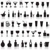 Alcoholische pictogrammen Stock Afbeelding
