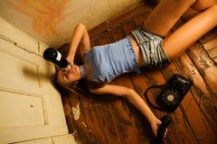 Alcoholische vrouw Stock Foto's