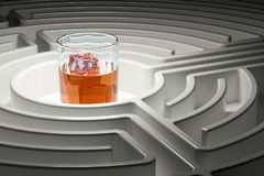 Alcoholism concept. Glass with alcohol drink inside labyrinth ma. Ze, 3D Stock Image