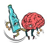 Alcoholism destroys the brain, drunk. fight bottle of vodka. Comic book cartoon pop art retro illustration vector Stock Photos