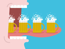 Alcoholism. Drinking many beer. Man drinks beer. Wide open mouth. With teeth and tongue Royalty Free Illustration