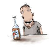 Alcoholism. Man drinking a bottle of bourbon Stock Photo