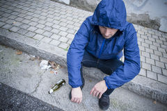 Alcoholism  man street Royalty Free Stock Photography