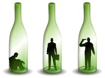 Alcoholism Man in a Wine Bottle Stock Images