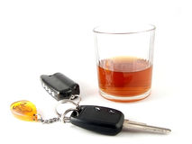 Alcoholism for meat loaf. Keys from car near alcohol of the drink on white background Stock Photography