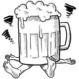 Alcoholism metaphor sketch. Doodle style alcoholism or hangover illustration in vector format Royalty Free Stock Image
