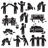 Alcoholism, party and people drinking icon set. Vector.  Royalty Free Stock Photography