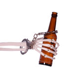 Alcoholism to death with handcuff and bottle Royalty Free Stock Photo