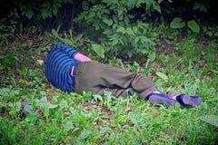 Alcoholist in slaap op het gazon stock foto's