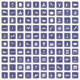 100 alcoholpictogrammen geplaatst grunge saffier Stock Afbeelding