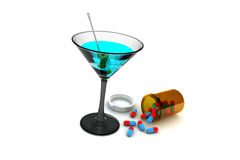 Alcool e farmaco Fotografia Stock Libera da Diritti