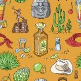 Alcool mexicain de vecteur de tir de tequila dans la boisson de bouteille avec la chaux et le sel dans le taqueria dans l'ensembl illustration libre de droits