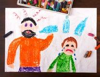 Alcool potable de père et enfant pleurant illustration stock