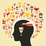 Alcool une tête illustration libre de droits