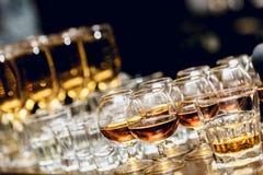 Alcoolici in bicchieri da brandy di brandy Fotografia Stock Libera da Diritti