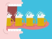 alcoolisme Boire beaucoup bière L'homme boit de la bière Bouche grande ouverte illustration libre de droits