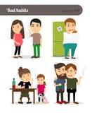 Alcoolisme, tabagisme et gloutonnerie illustration libre de droits