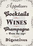 Alcools de restaurant et fond français de boisson illustration libre de droits