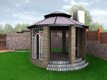 A alcova do jardim do projeto da paisagem, 3D rende Foto de Stock